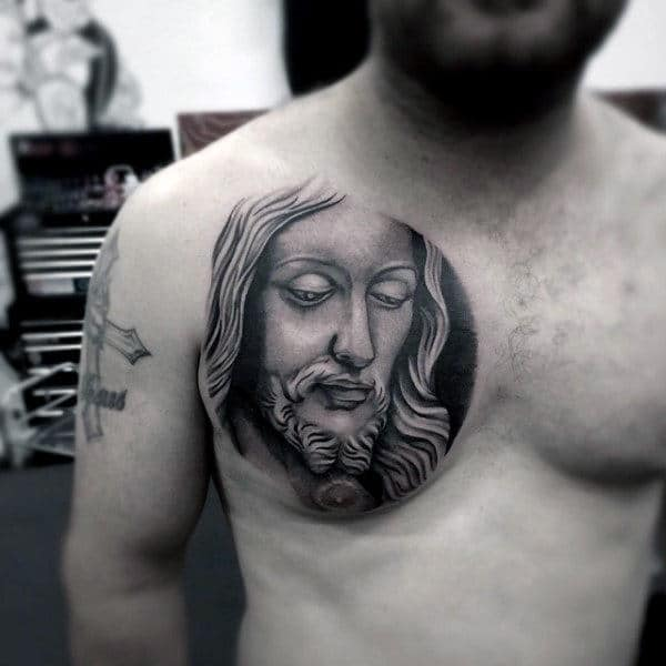 Realistic Male Simple Christian Tattoos On Chest