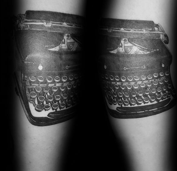 Realistic Male Typewriter Tattoo Ideas