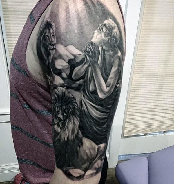 Realistic Man Praying With Lions Mens Half Sleeve Tattoo