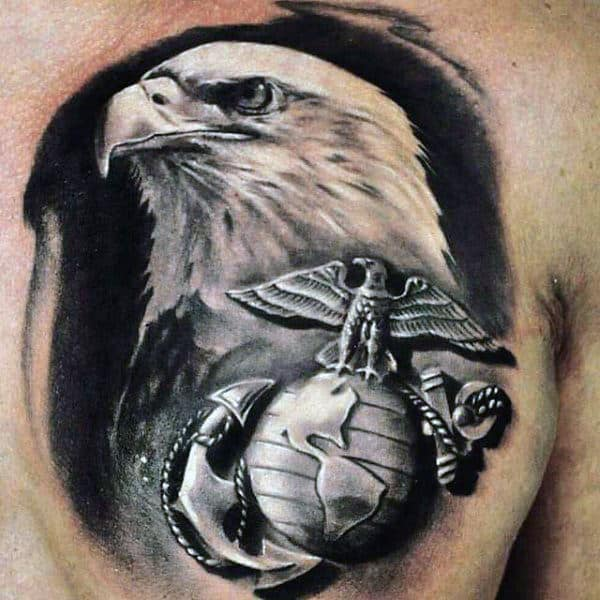 Realistic Marine Watercolor Bald Eagle Guys Chest Tattoos