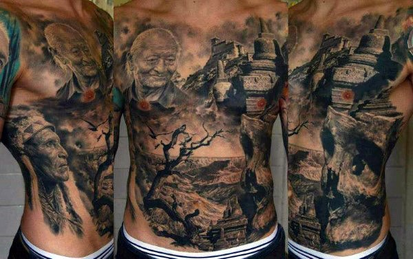 Realistic Men Stomach Tattoos