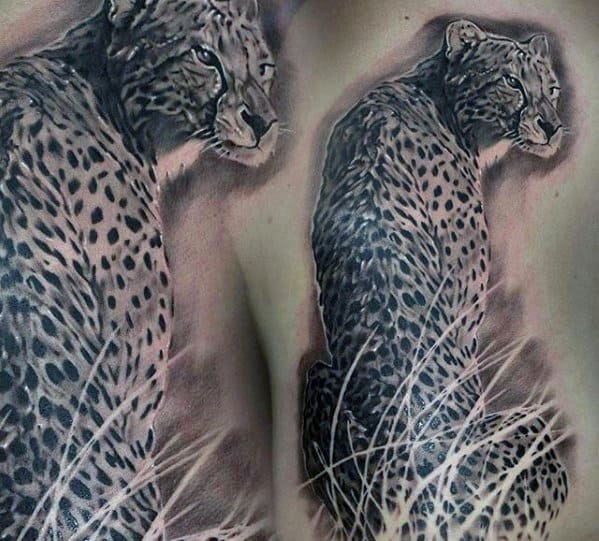 Realistic Mens 3d Cheetah Back Tattoo Design Ideas