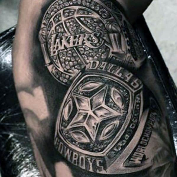 Realistic Mens 3d Dallas Cowboys Rings Tattoo On Arm