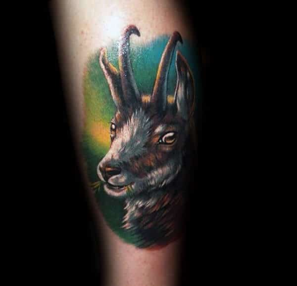 Realistic Mens 3d Goat Arm Tattoos