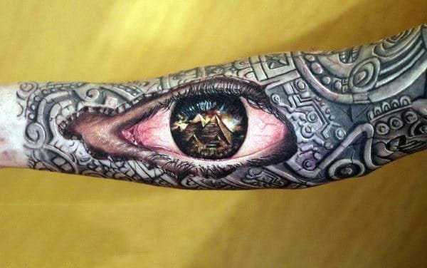 Realistic Mens 3d Pyramid Eye Sleeve Tattoo Designs