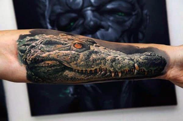 Realistic Mens Alligator Tattoo On Arms