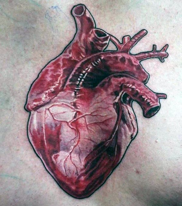 Realistic Mens Anatomical Heart Upper Chest Tattoo
