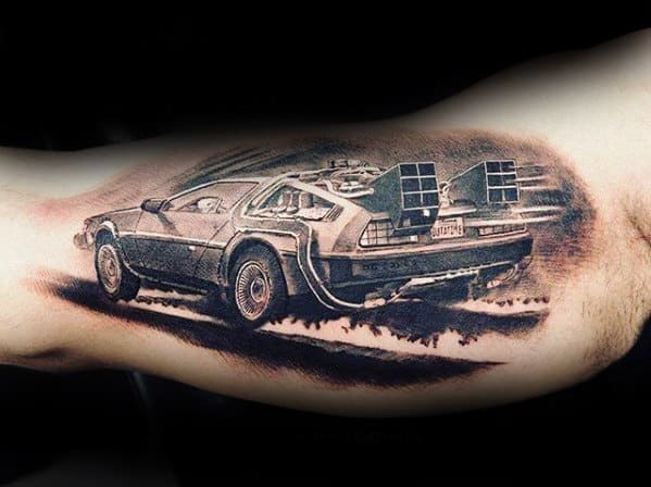 Realistic Mens Back To The Future Delorean Car Tattoo On Inner Arm Bicep