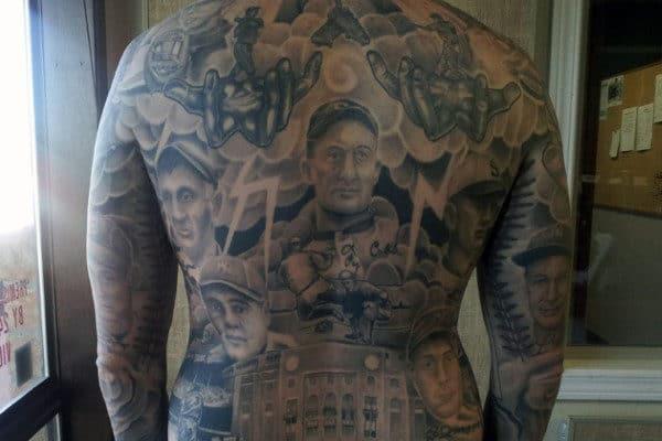 Realistic Men's Baseball Tattoo On Back