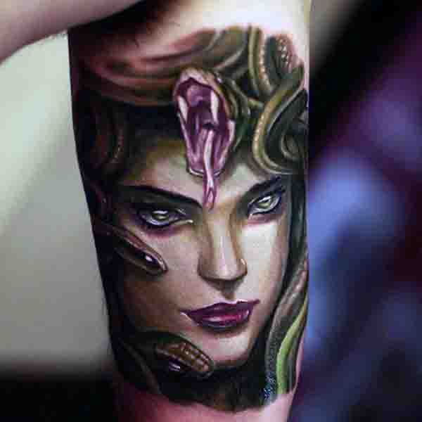 Realistic Mens Bicep Medusa Tattoo Art Design