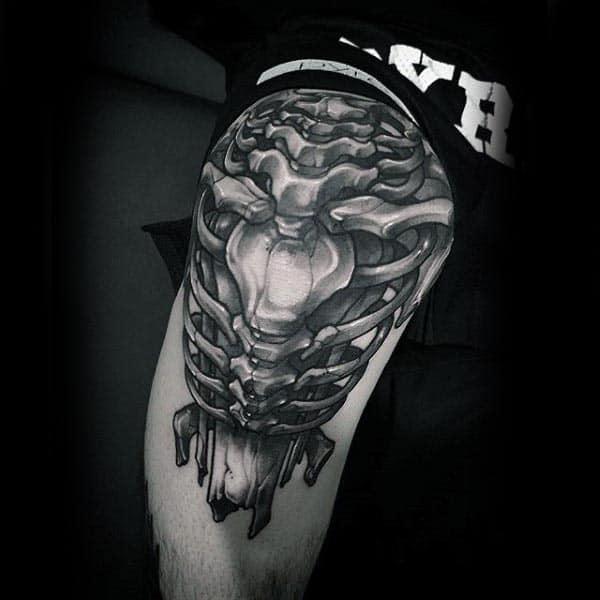 Realistic Mens Bone Knee Tattoo Design