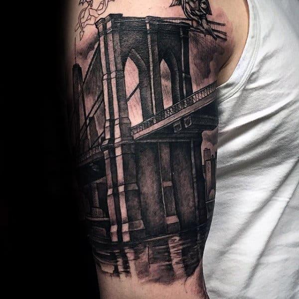 Realistic Mens Brooklyn Bridge 3d Tattoo Half Sleeve