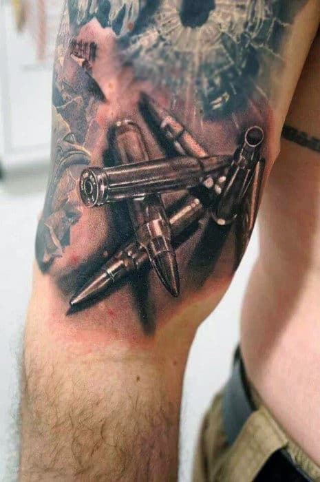 Realistic Mens Bullet Hole Tattoos Of Glass On Upper Arm