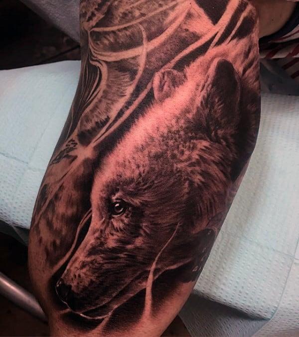 Realistic Mens California Bear Half Sleeve Tattoos