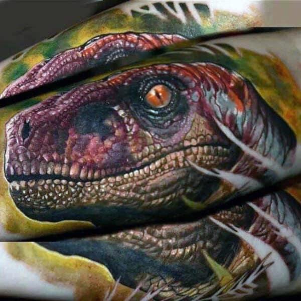 Realistic Mens Colorful Velociraptor Forearm Sleeve Tattoo