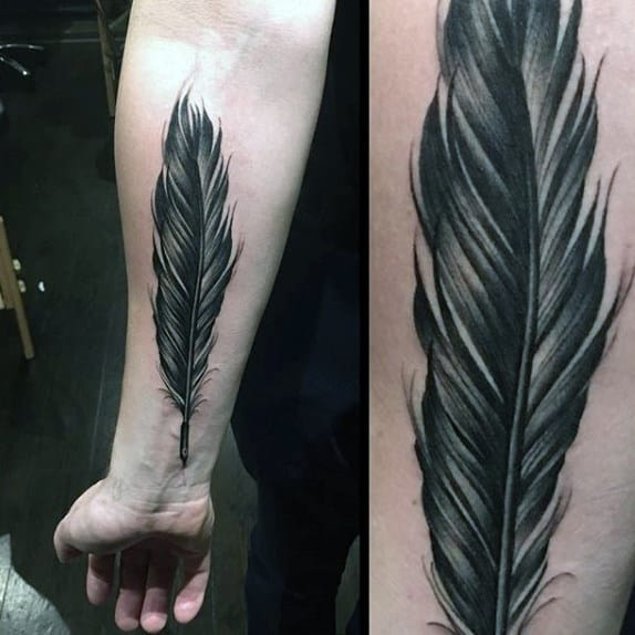 Realistic Mens Dark Feather Tattoo Forearms