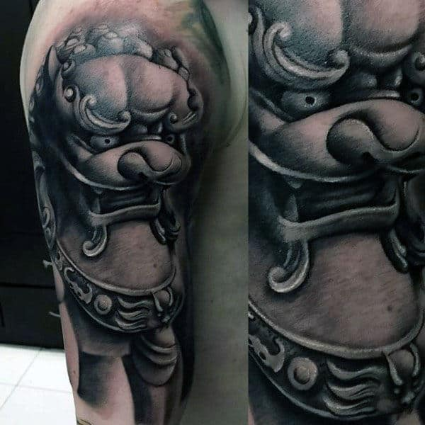 Realistic Mens Foo Dog Half Sleeve Tattoo Design Ideas
