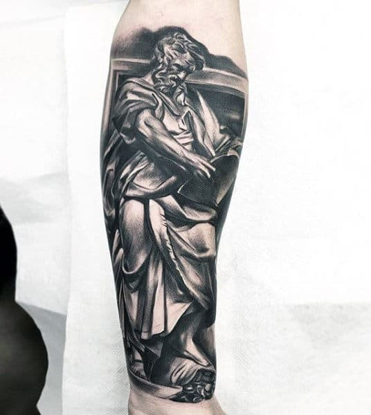 Realistic Mens Forearm Sleeve Tattoos With Black And Grey Ink