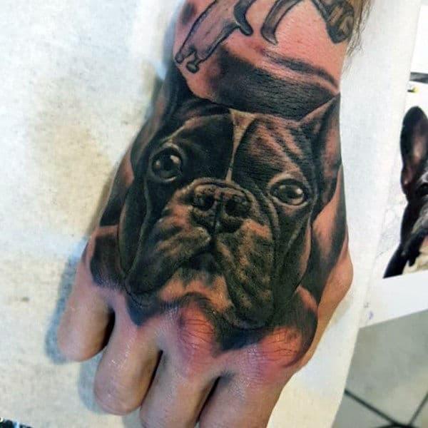 Realistic Mens French Bulldog Hand Tattoo Inspiration