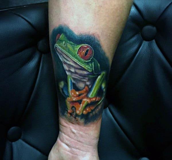 Realistic Mens Frog Wrist Tattoo