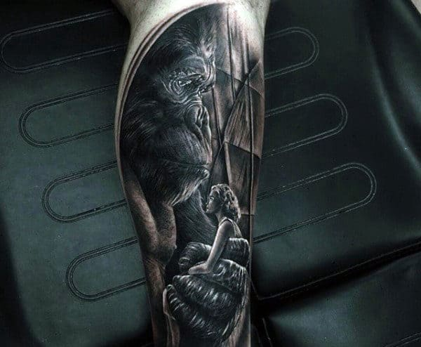 Realistic Mens Gorilla Tattoos With Woman In Hands
