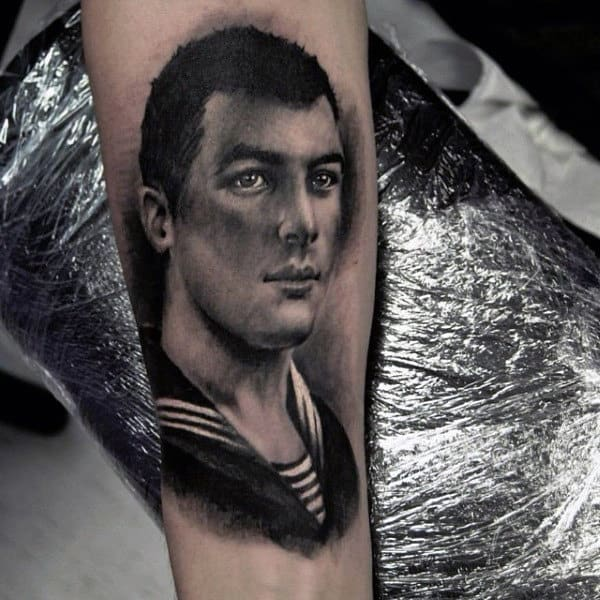 Realistic Mens Grandpa Portrait Tattoo On Inner Forearm
