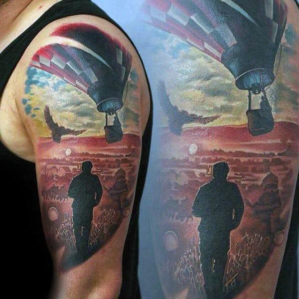 Realistic Mens Half Sleeve Hot Air Balloon Tattoos