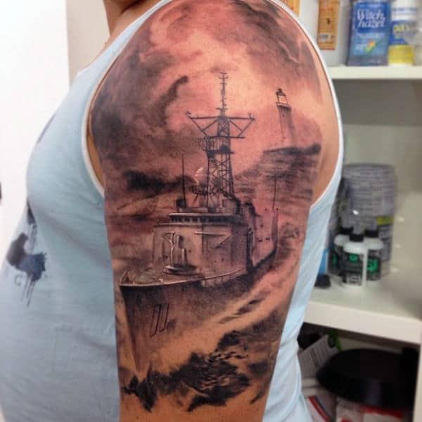 Realistic Mens Half Sleeve Navy Ship Tattoos