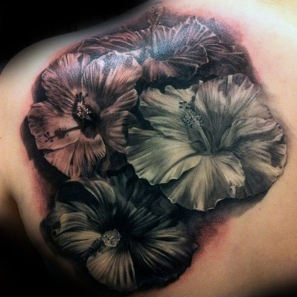 Realistic Mens Hibiscus Shoulder Blade Tattoo