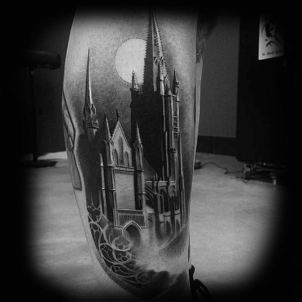 Realistic Mens Leg Castle Tattoos