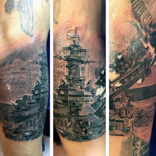 Realistic Mens Outer Forearm Navy Battleship Tattoos