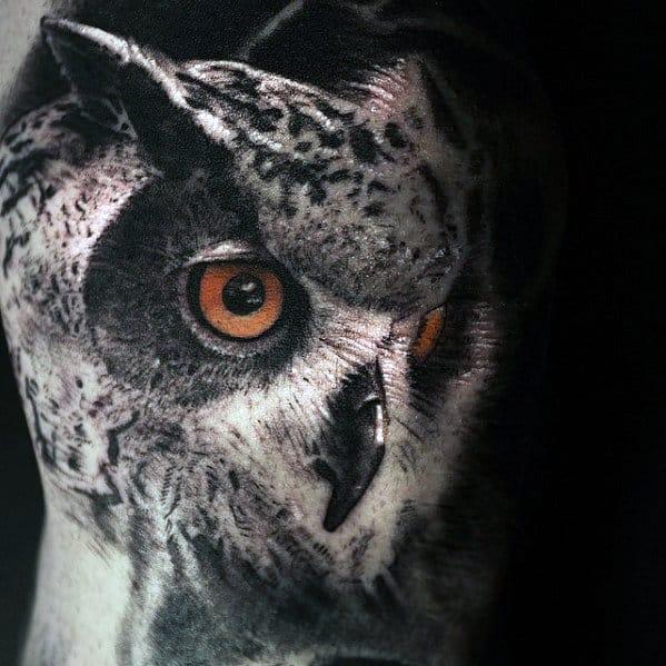 Realistic Mens Owl Head 3d Arm Tattoo