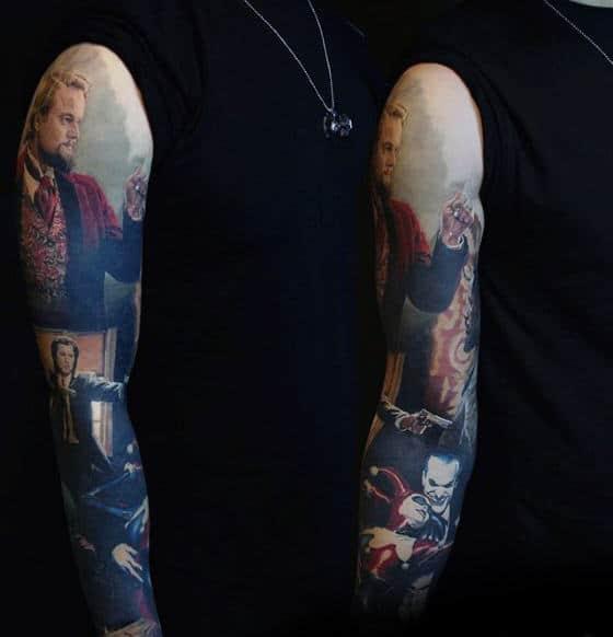 Realistic Mens Pulp Fiction 3d Full Arm Sleeve Tattoo