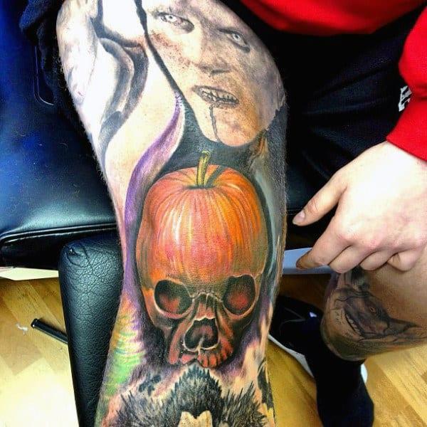 Realistic Mens Pumpkin Leg Knee Cap Tattoos