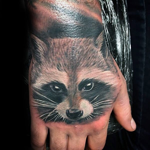 Realistic Mens Raccoon Hand Tattoo Designs