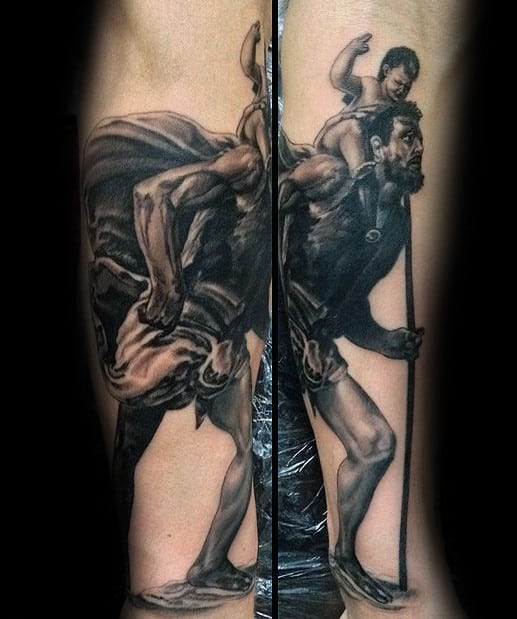 Realistic Mens Saint Christopher Tattoo On Inner Forearm