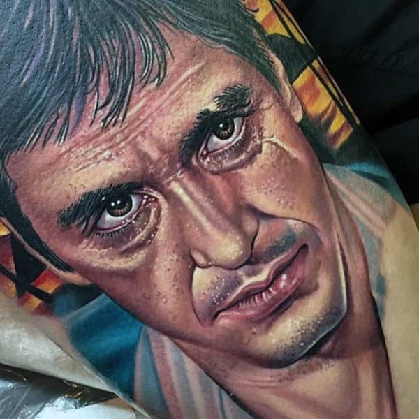 Realistic Mens Scarface Sleeve Tattoo Portrait