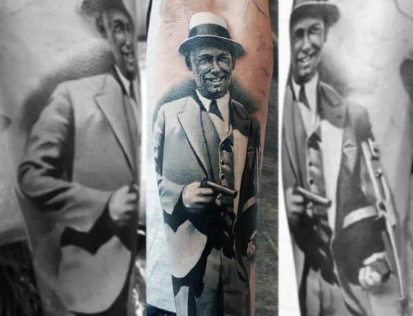 Realistic Mens Shaded Grey And White Ink Gangster Forearm Tattoos