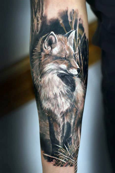 Realistic Mens Sleeve Tattoo Fox
