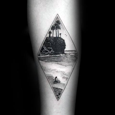 Realistic Mens Small Inner Forearm Beach Tattoo With Detailed Design