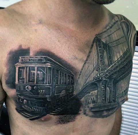 Realistic Mens Train Car With Bridge Chest Tattoo