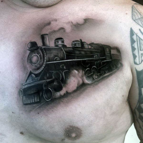 Realistic Mens Train Tattoo On Upper Chest