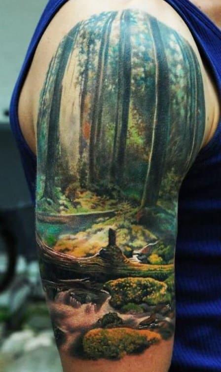 Realistic Mens Tree Half Sleeve Tattoo Ideas