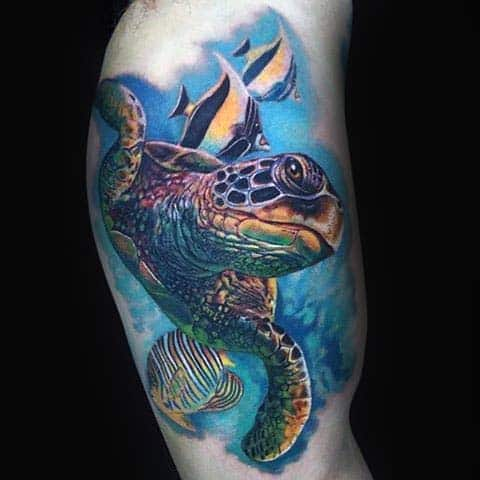 Realistic Mens Turtle Bicep Tattoo Design With Watercolor Background