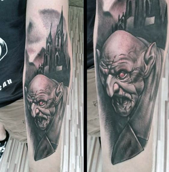 Realistic Mens Vampire And Castle Tattoo On Forearm