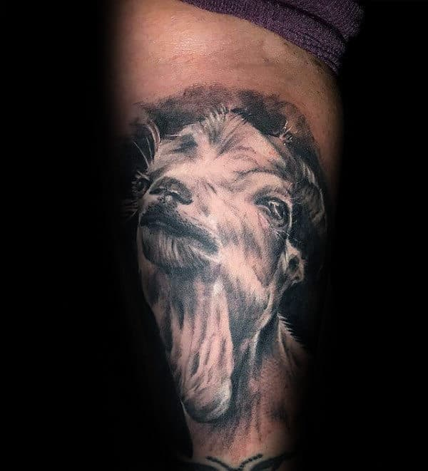 Realistic Mens White Ink Goat Arm Tattoo Designs