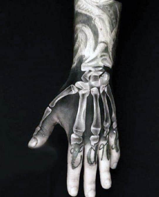 Realistic Mens Xray Bone Hand Tattoo