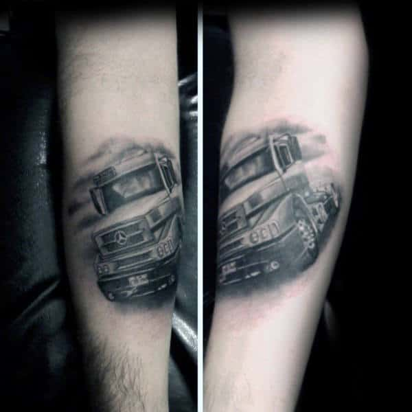 Realistic Mercedes Truck Mens Inner Forearm Tattoos