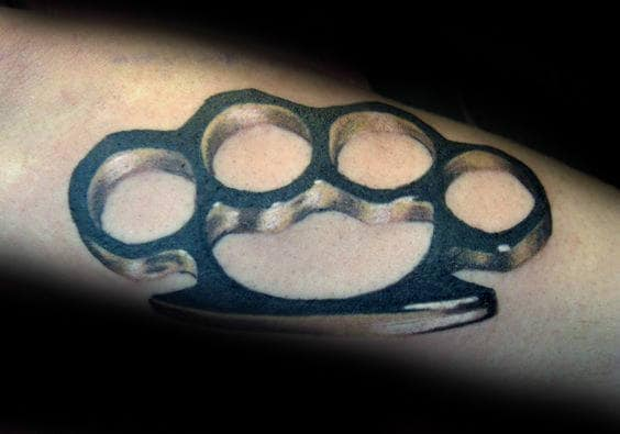 Realistic Metallic Brass Knuckles Tattoo For Gentlemen