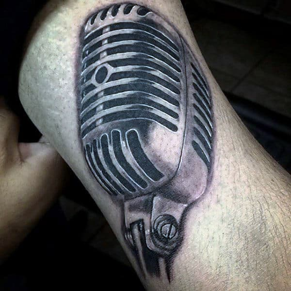 Realistic Metallic Microphone Tattoo Male Arms